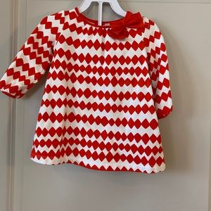 Gymboree girls red and white dress with bow & bttm